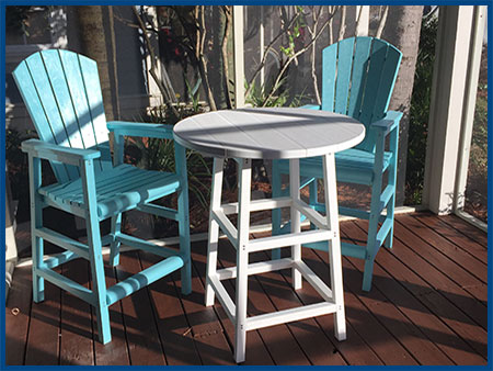 Aqua Pub Chairs with White Pub Table