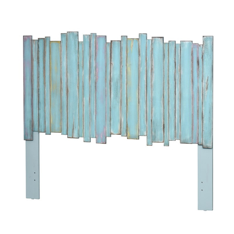Picket Fence Distressed Blue Casual Headboard